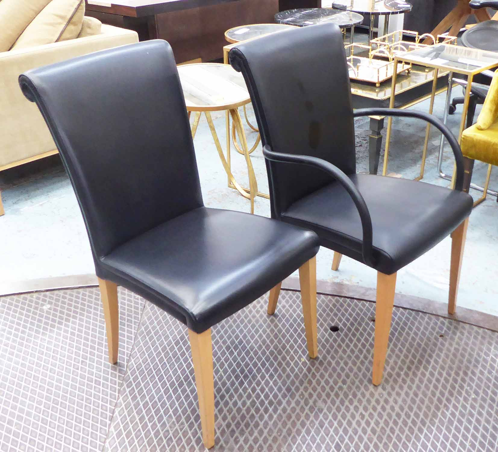 Lot 2 - POLTRONA FRAU VITTORIA DINING CHAIRS, a set of six, in black leather.