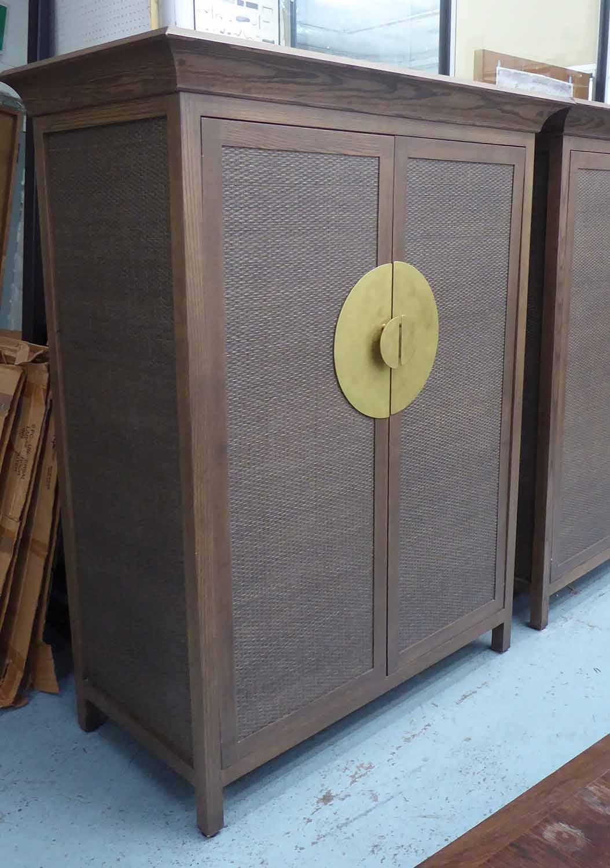 Lot 5 - MEDIA CABINET, in the oriental style, with fold away door mechanism, 136cm W x 68cm D x 170cm H.