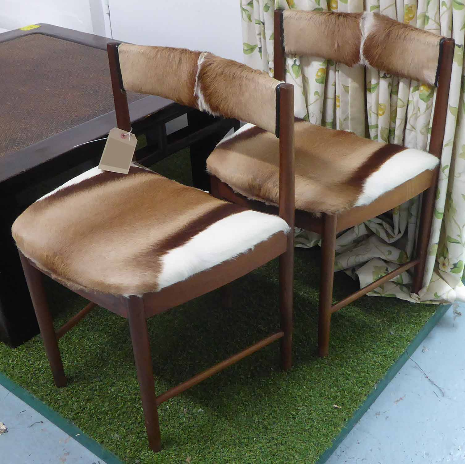 Lot 37 - SIDE CHAIRS, a pair, 1960's upholstered in fur, 50cm W.
