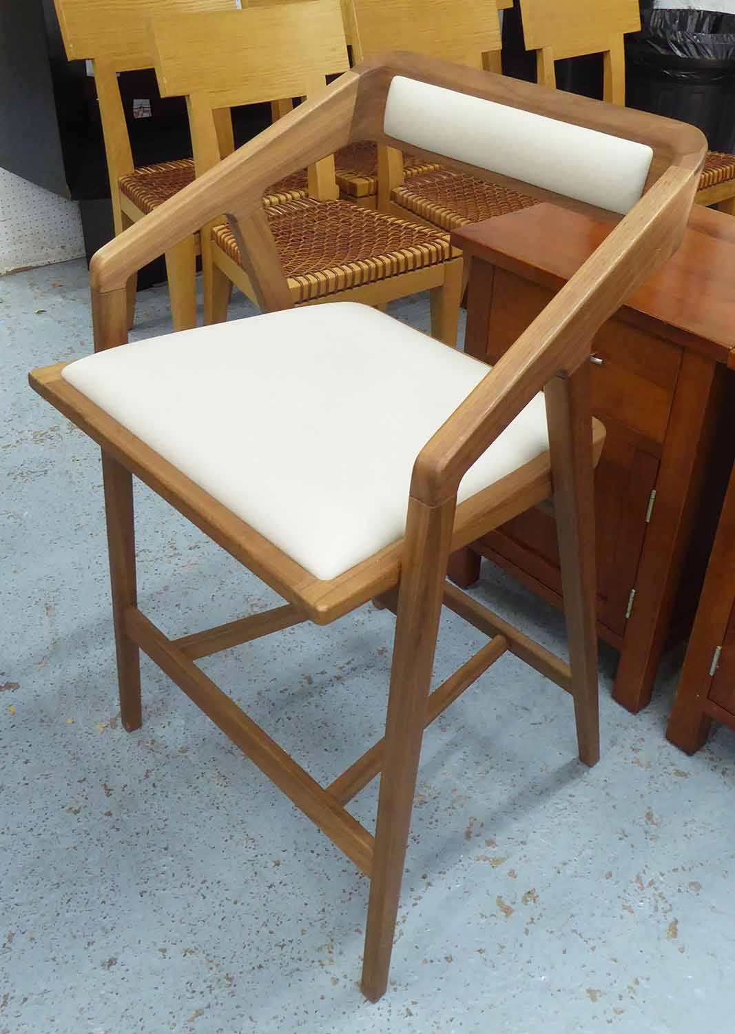 Lot 33 - BAR TABLE, 90cm x 60cm and two chairs, 88cm x 47cm.