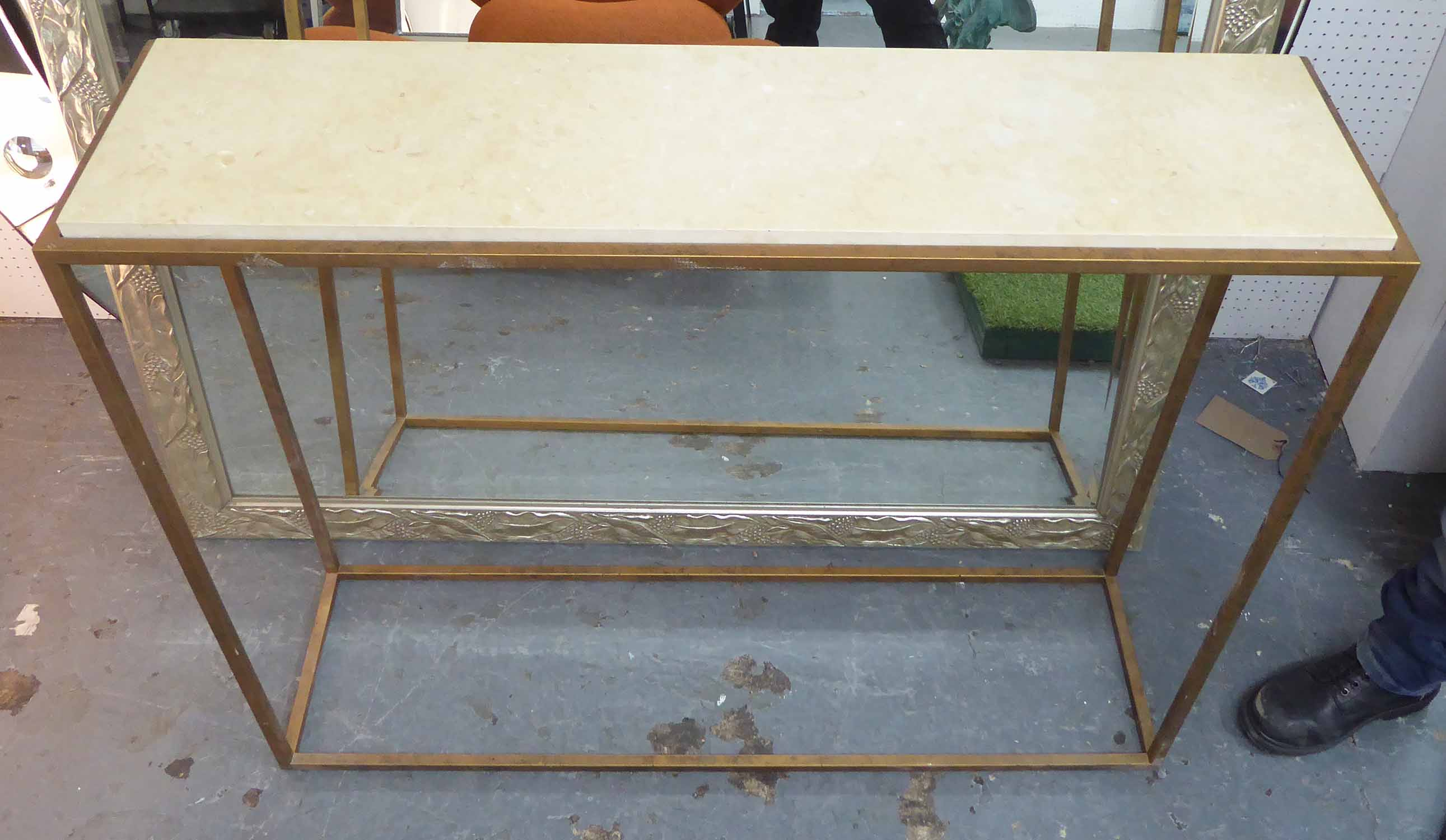 Lot 26 - CONSOLE TABLE, contemporary, gilded metal base, 111cm x 31cm x 85cm H.