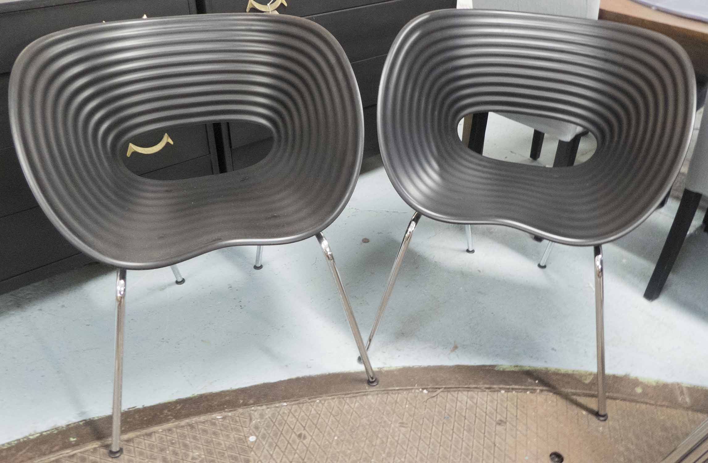 Lot 55 - TOM VAC VITRA CHAIRS, a set of five, in black finish on metal tubular supports, 65cm W.