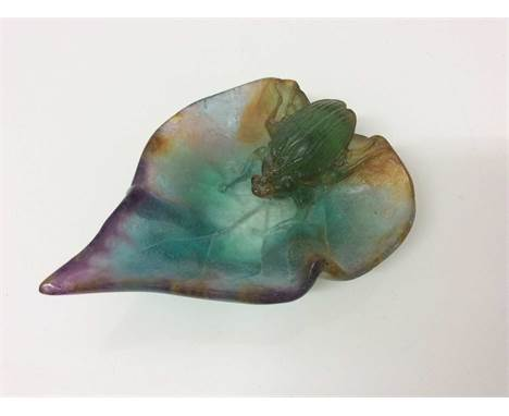 Daum pate de verre dish in the form of a beatle on a leaf, 10cm lengthCondition report: Very good condition