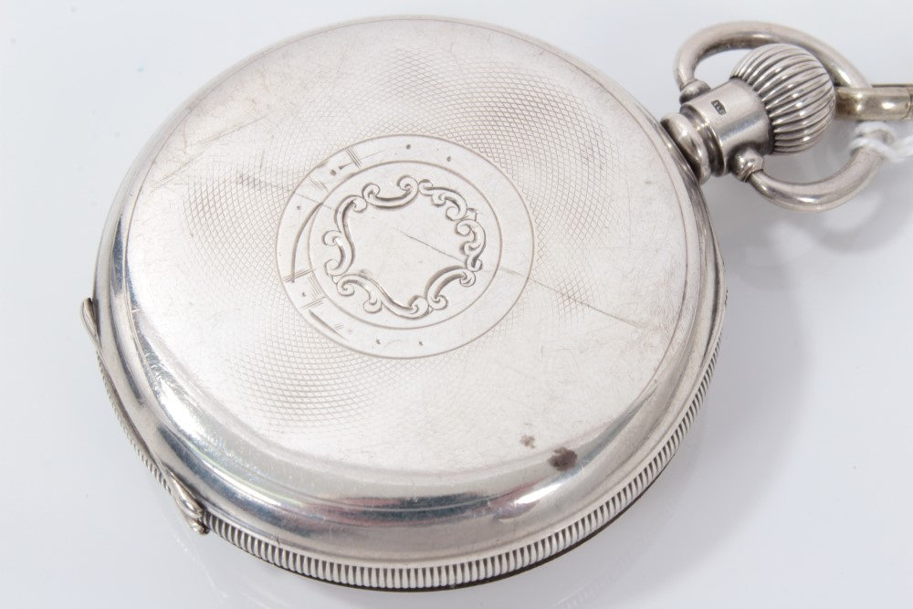 Lot 3219 - Herbert Wolf Ltd silver cased pocket watch on silver Albert chain with silver fob
