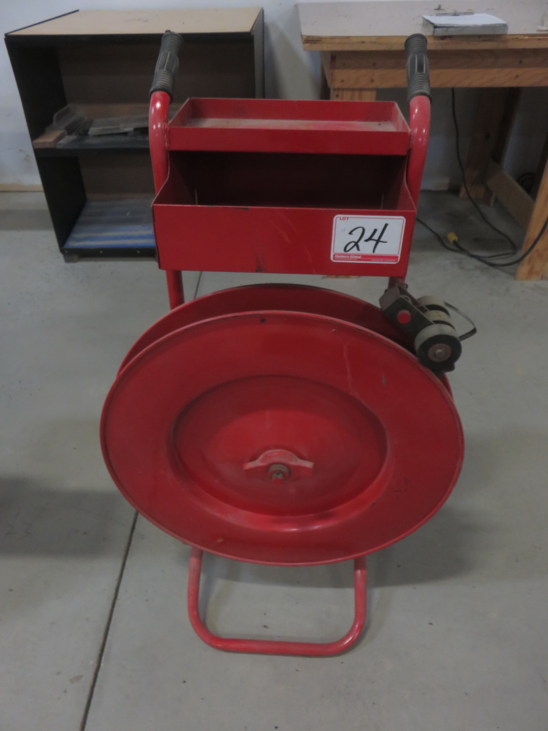 """RED STEEL STRAPPING CART W/ 1/2"""" METAL STRAPPING"""
