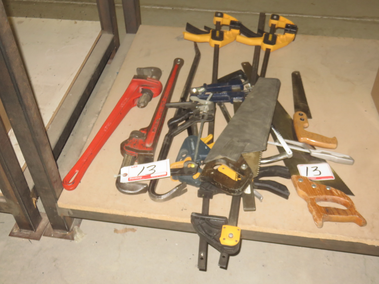 LOT - DEWALT BAR CLAMPS, PIPE WRENCHES, HAND SAWS