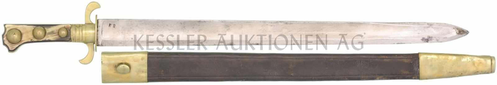 Waidmesser, Kt. VD, 1830 KL 513mm, TL 640mm, Klinge mit voller Wurzel, beidseitiger Hohlschliff,