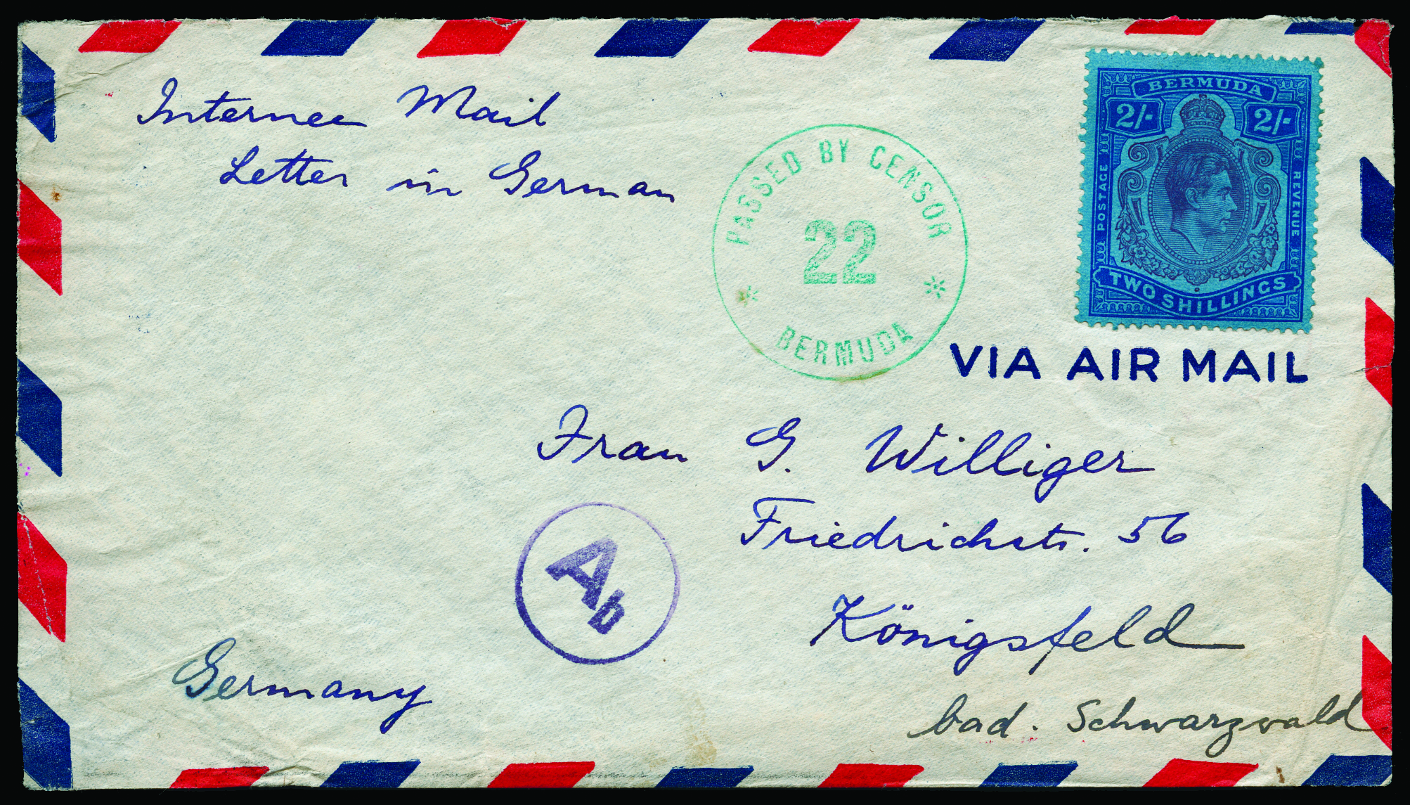 "Lot 428 - Internee Mail: Undated envelope to Germany with m/s ""Internee Mail/Letter in German"" from ""K."