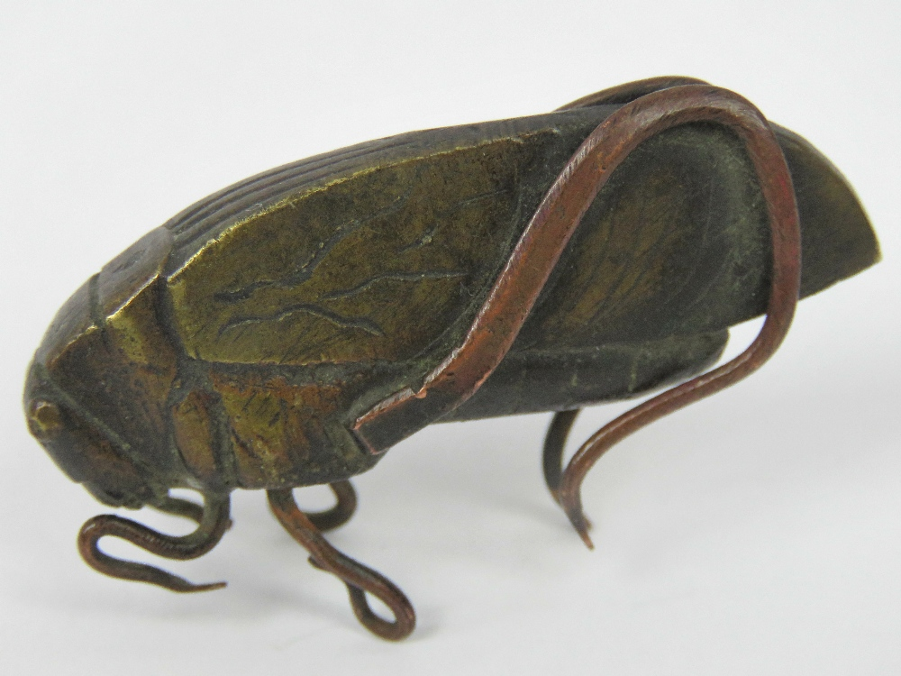 Lot 490 - A bronze locust complete with six legs w