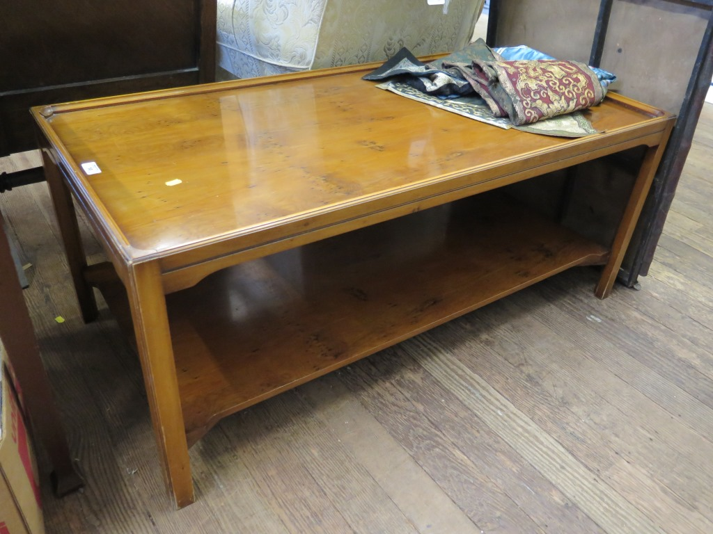 Lot 10 - A Bevan Funnell yew-wood coffee table, rectangular with undershelf, top 120 x 60 cm