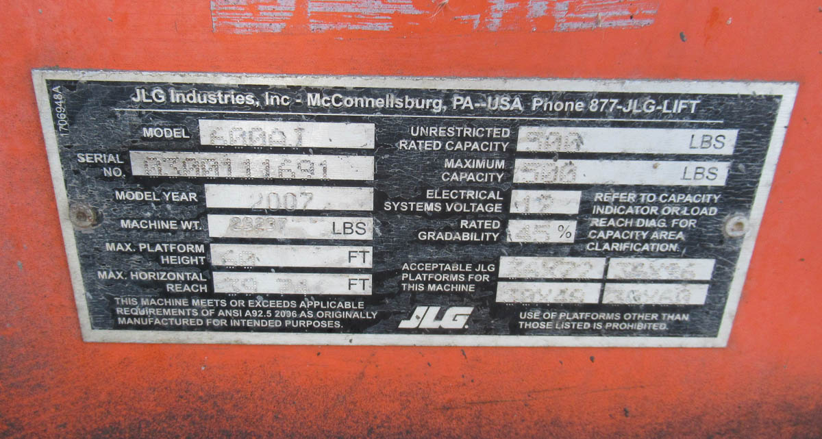 2007 JLG 600AJ BOOM LIFT, DIESEL, 500# CAPACITY, 60' MAX PLATFORM HEIGHT, 39' MAX HORIZONTAL - Image 13 of 13