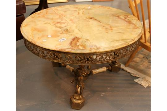 Large green onyx coffee table with gilt metal leg stand