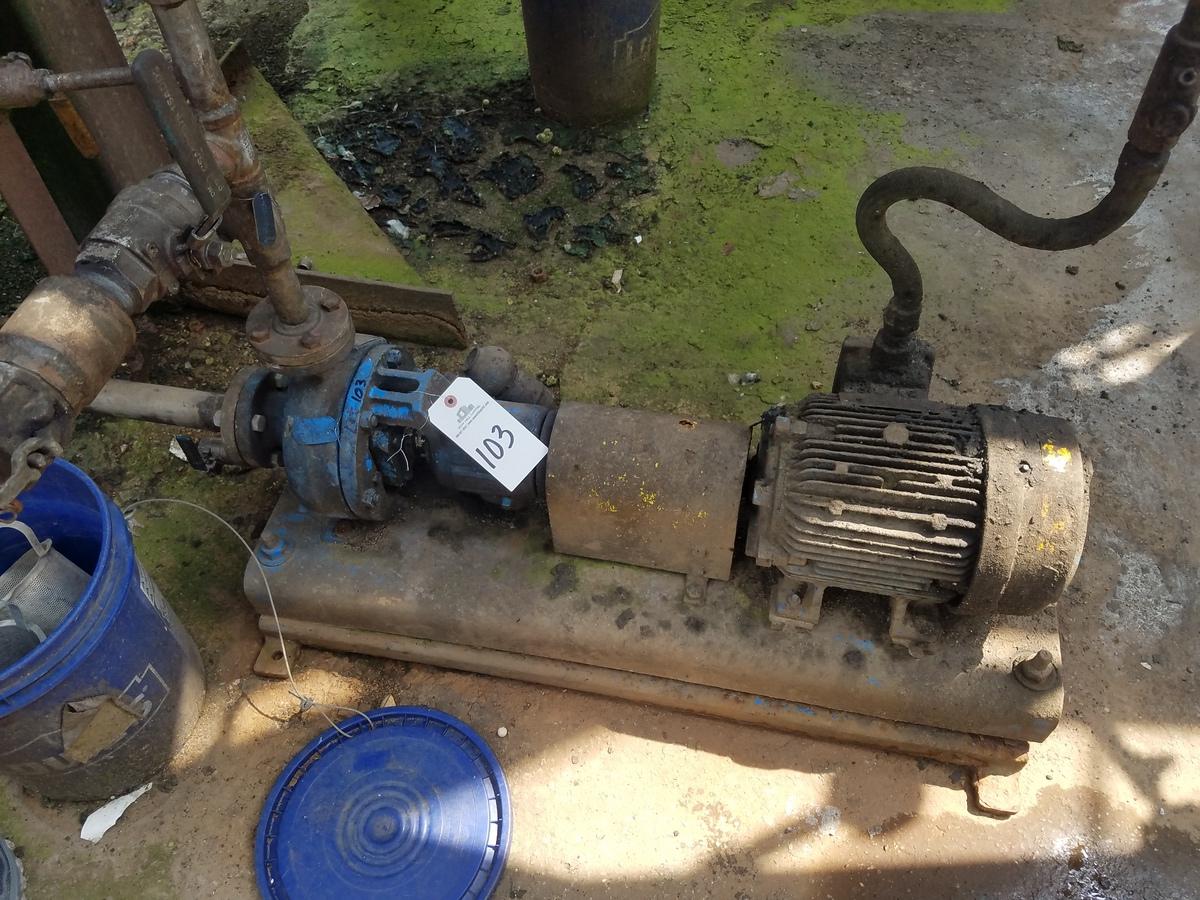 Goulds 1X1.5-6 Centrifugal Pump, W/ 10 HP Electric Motor   Rig Fee: $200