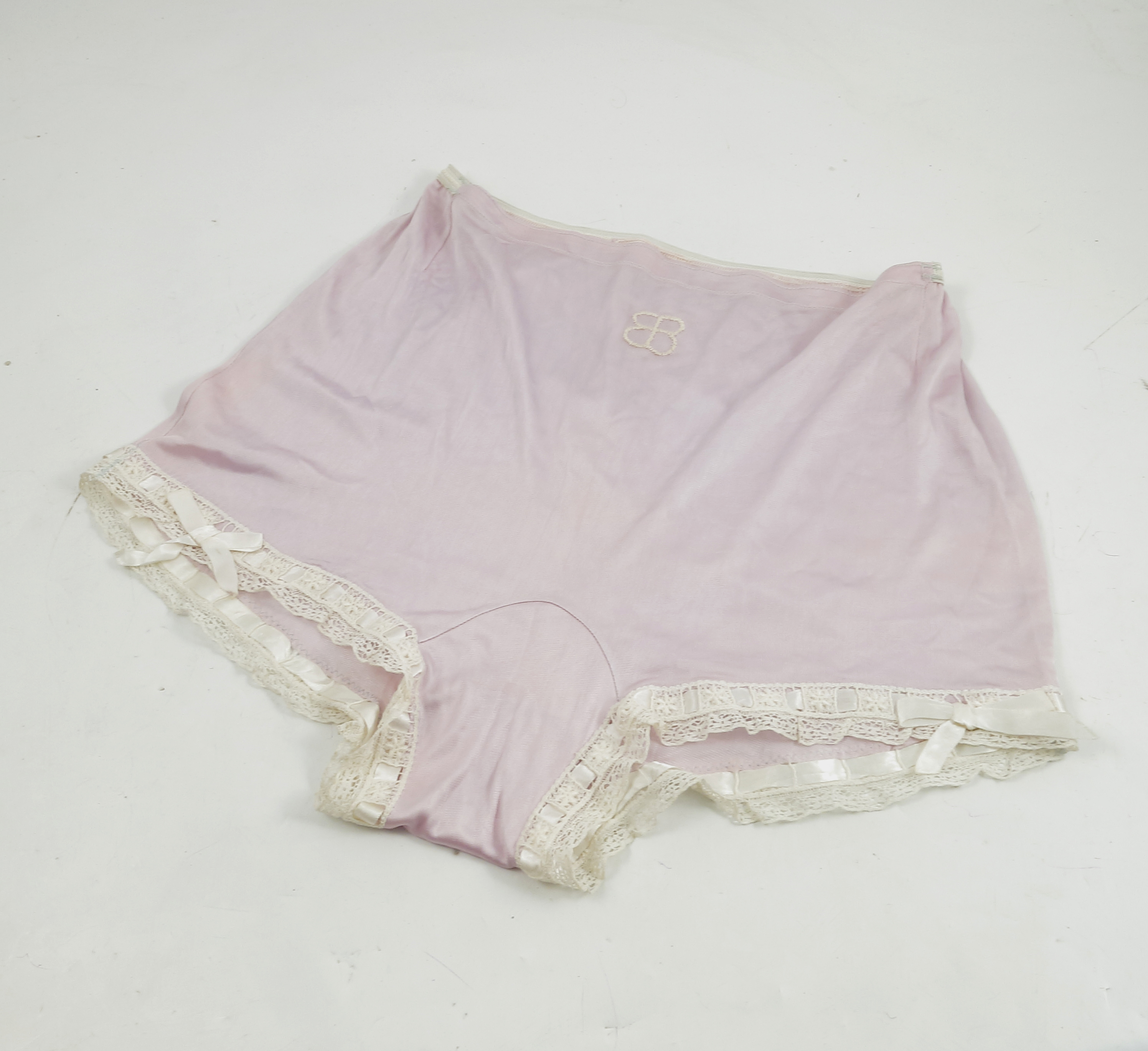 Eva Braun, a pair of under garments, with lace and ribbon trim, embroidered with her initials, - Image 2 of 4