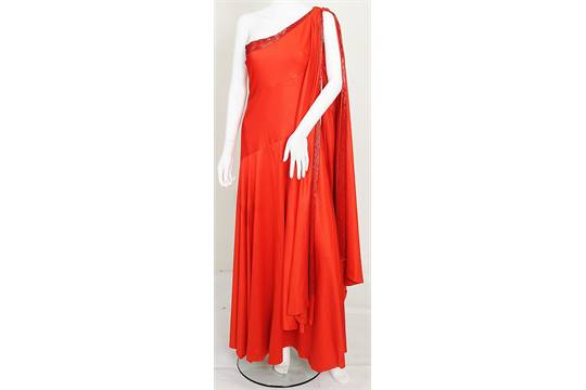 5b6de7ec86c A red silk jersey dress and red beaded headress worn by the character of Dale  Arden in 1980 film