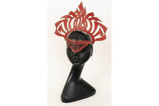 1ee05903153 A red silk jersey dress and red beaded headress worn by the ...