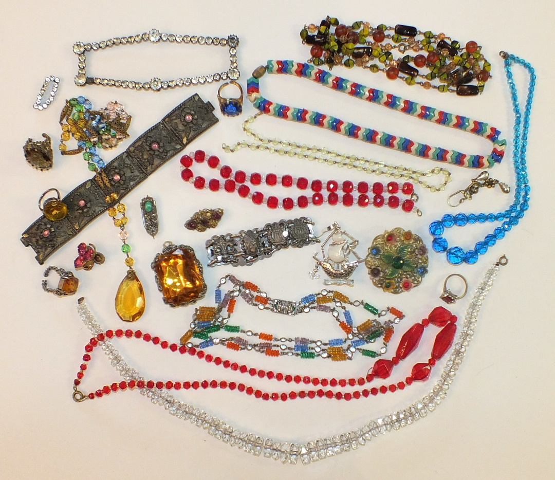 Lot 183 - A necklace of cut glass beads, another with an Art Deco paste-set clasp and other costume