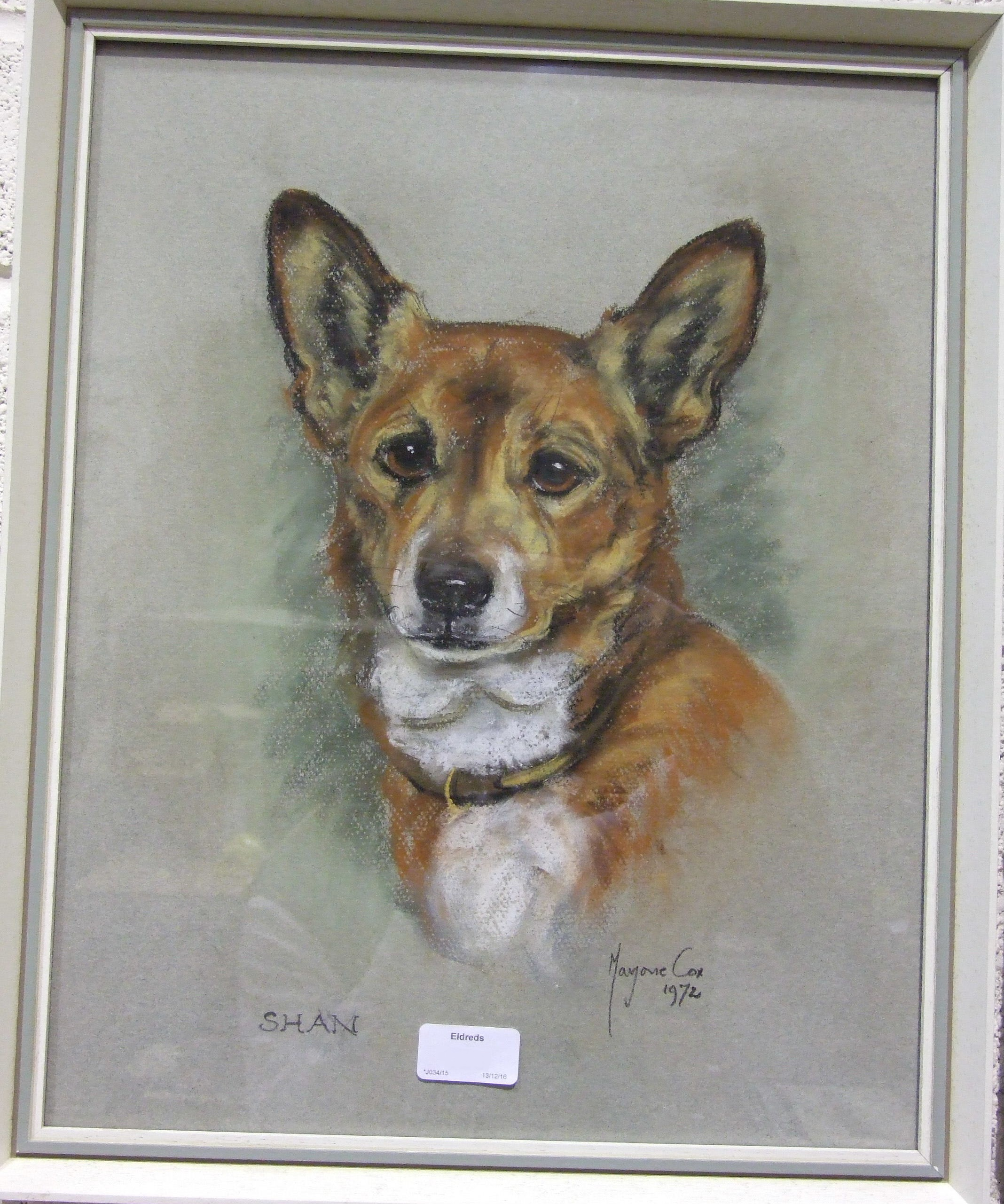 Lot 138 - Marjorie Cox, Shan, a crayon drawing of a corgi, signed and dated 1972, 42 x 32.5cm and other