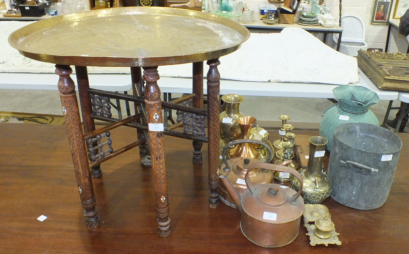 Lot 59 - A brass Benares tray, 67cm diameter and other brass ware.