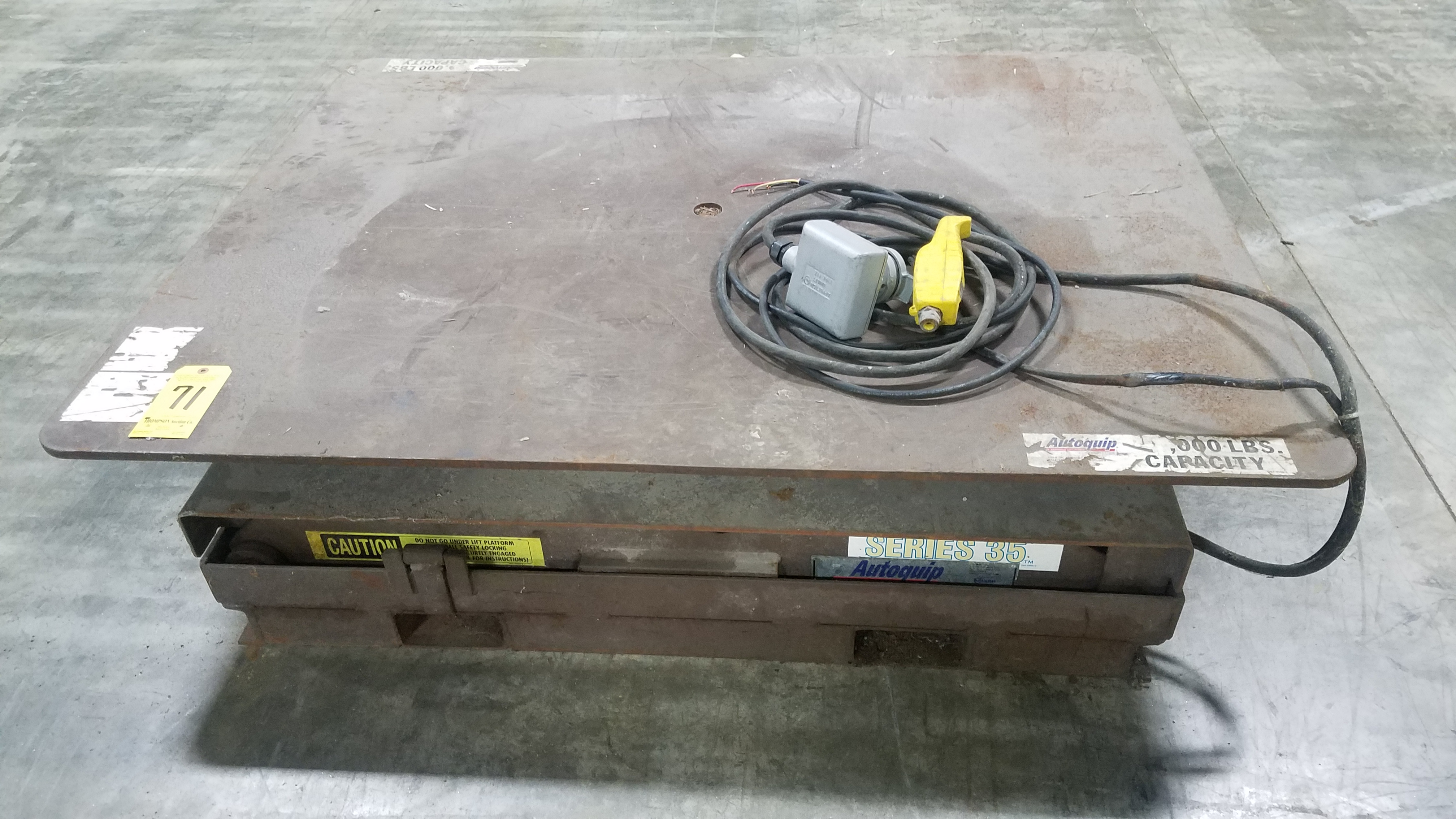 Lot 71 - Autoquip Series 35 Scissor Lift Table, 4 Ft. X 5 Ft. Deck