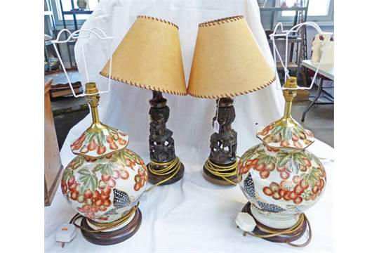 2 carved wooden african table lamps with 1950s shades 55cm tall 2 carved wooden african table lamps with 1950s shades 55cm tall and 2 pottery table lamps 4 mozeypictures Image collections
