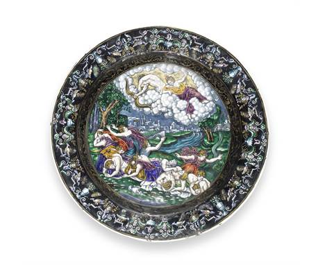 A 19th century Limoges enamel charger decorated with a scene of Artemis and Apollo killing the children of Niobe, probably Sa