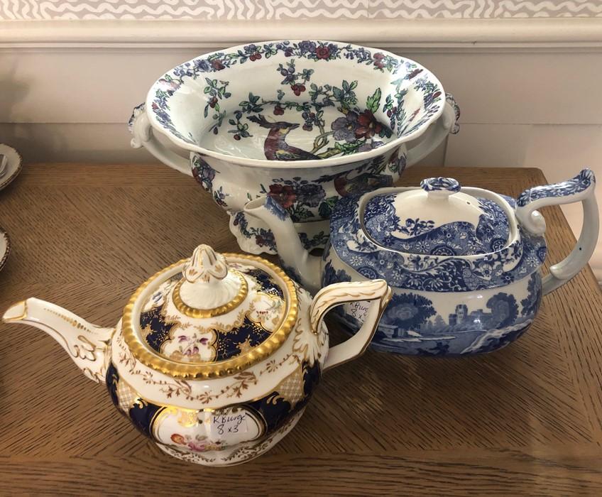 Lot 57 - Ceramics to include Copeland Spode bowl, Copeland teapot and Coalport teapot. All in good