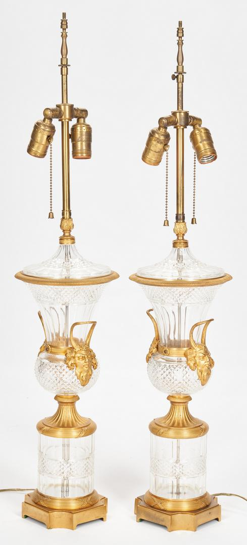 Pair Baccarat Style Crystal Lamps plus Sevres Style Lamp - Image 4 of 21