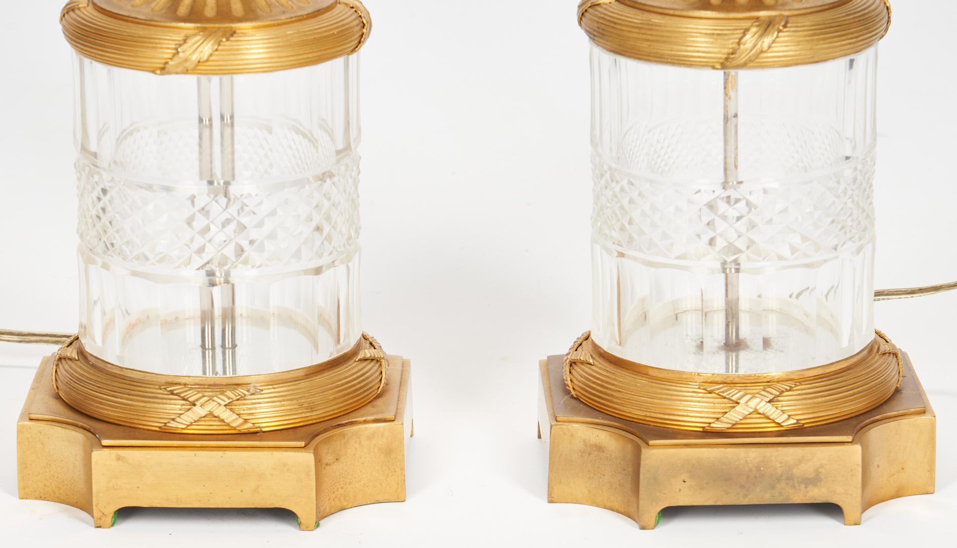 Pair Baccarat Style Crystal Lamps plus Sevres Style Lamp - Image 7 of 21