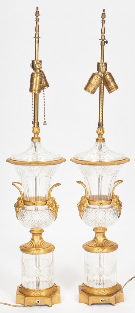 Pair Baccarat Style Crystal Lamps plus Sevres Style Lamp - Image 10 of 21