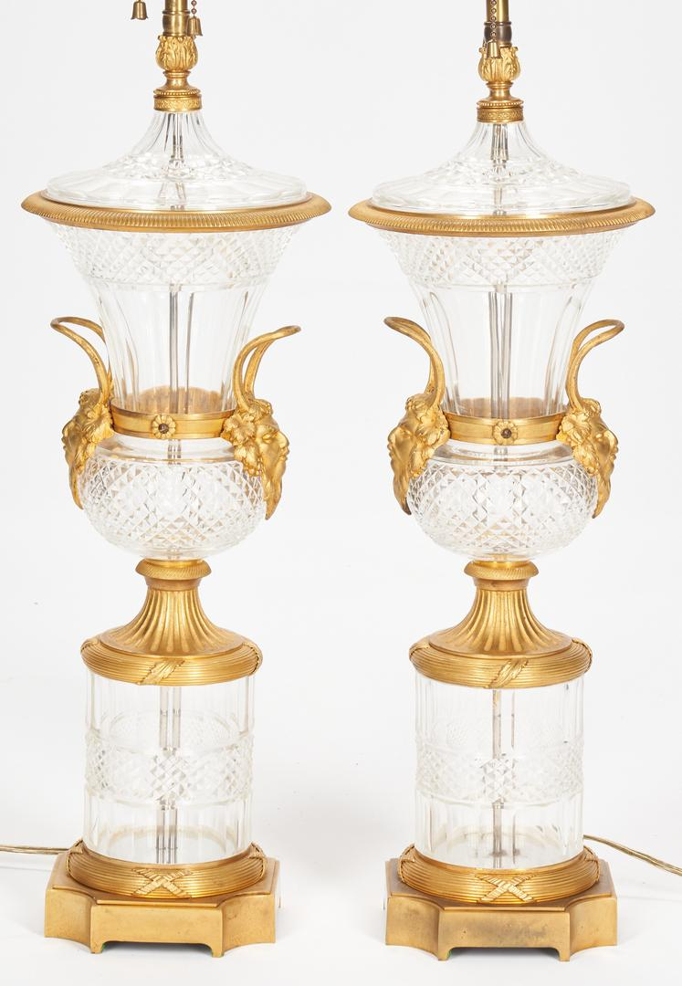 Pair Baccarat Style Crystal Lamps plus Sevres Style Lamp - Image 2 of 21