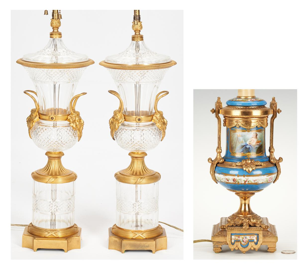 Pair Baccarat Style Crystal Lamps plus Sevres Style Lamp