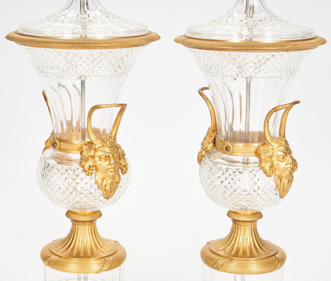 Pair Baccarat Style Crystal Lamps plus Sevres Style Lamp - Image 5 of 21