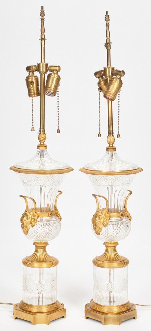 Pair Baccarat Style Crystal Lamps plus Sevres Style Lamp - Image 6 of 21