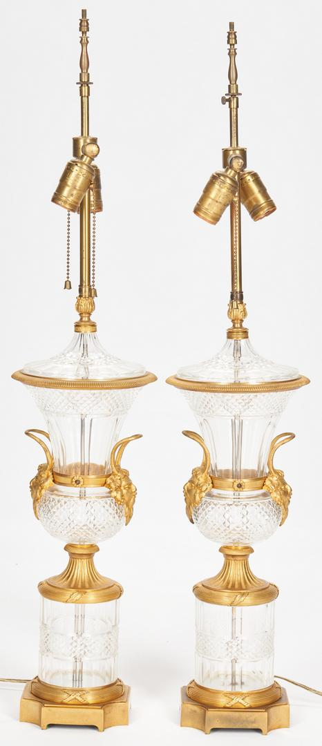 Pair Baccarat Style Crystal Lamps plus Sevres Style Lamp - Image 3 of 21