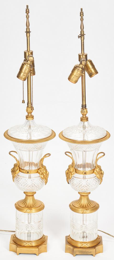 Pair Baccarat Style Crystal Lamps plus Sevres Style Lamp - Image 11 of 21