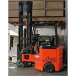 Bendi BE40 V72 Articulated Counter Balance Ride-On Fork Lift Truck (2007) triple mast, 7.2m operatin