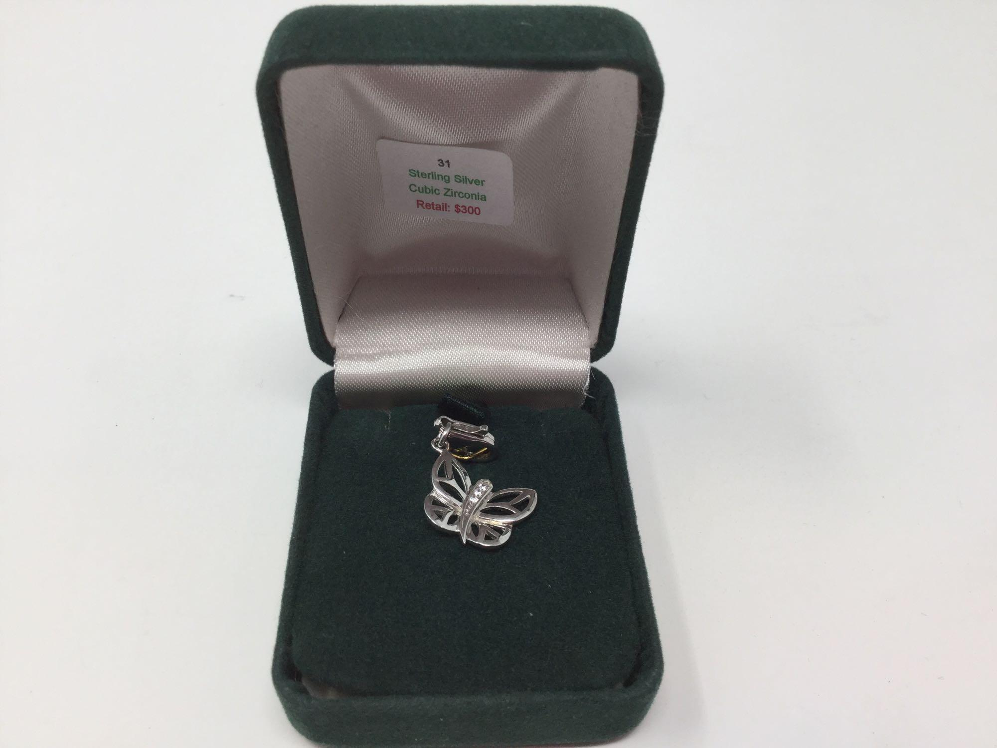 Lot 14 - Sterling Silver Cubic Zirconia Butterfly Pendant - Retail $300