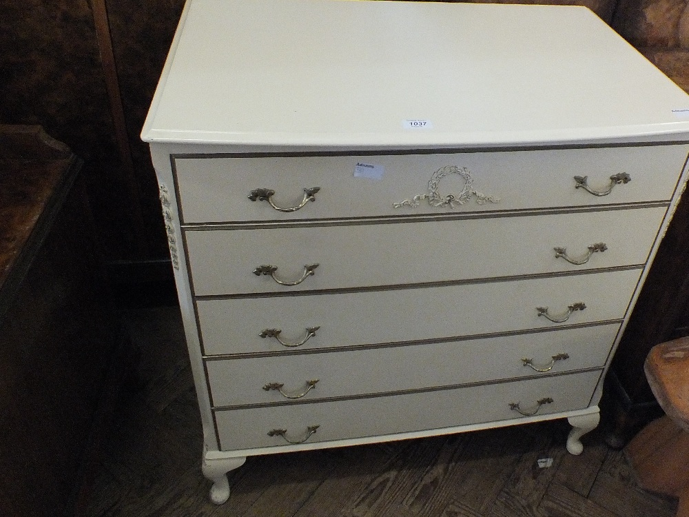 Lot 1037 - A modern painted French style five drawer chest
