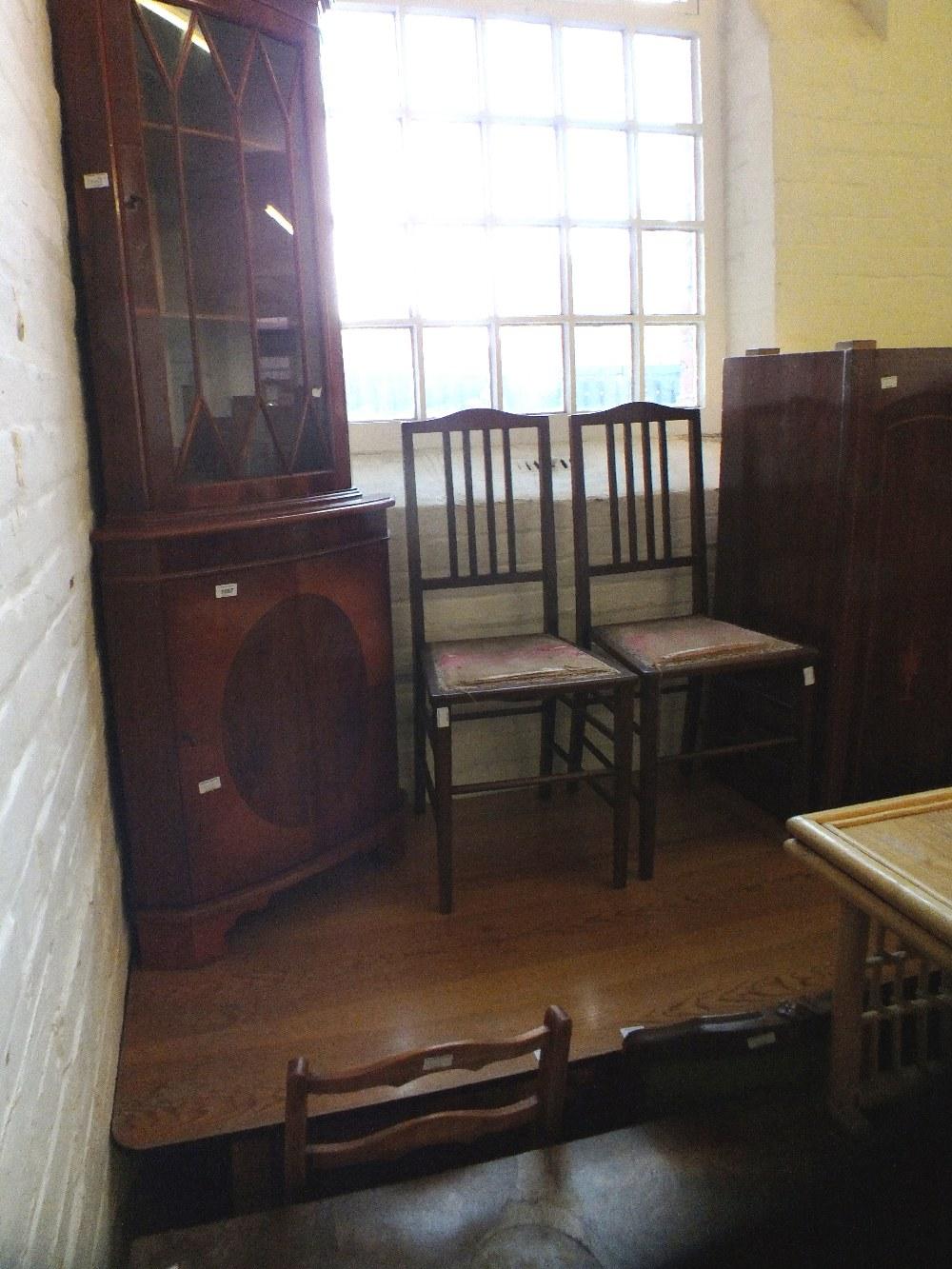 Lot 1003 - A mahogany corner cabinet, kitchen table,