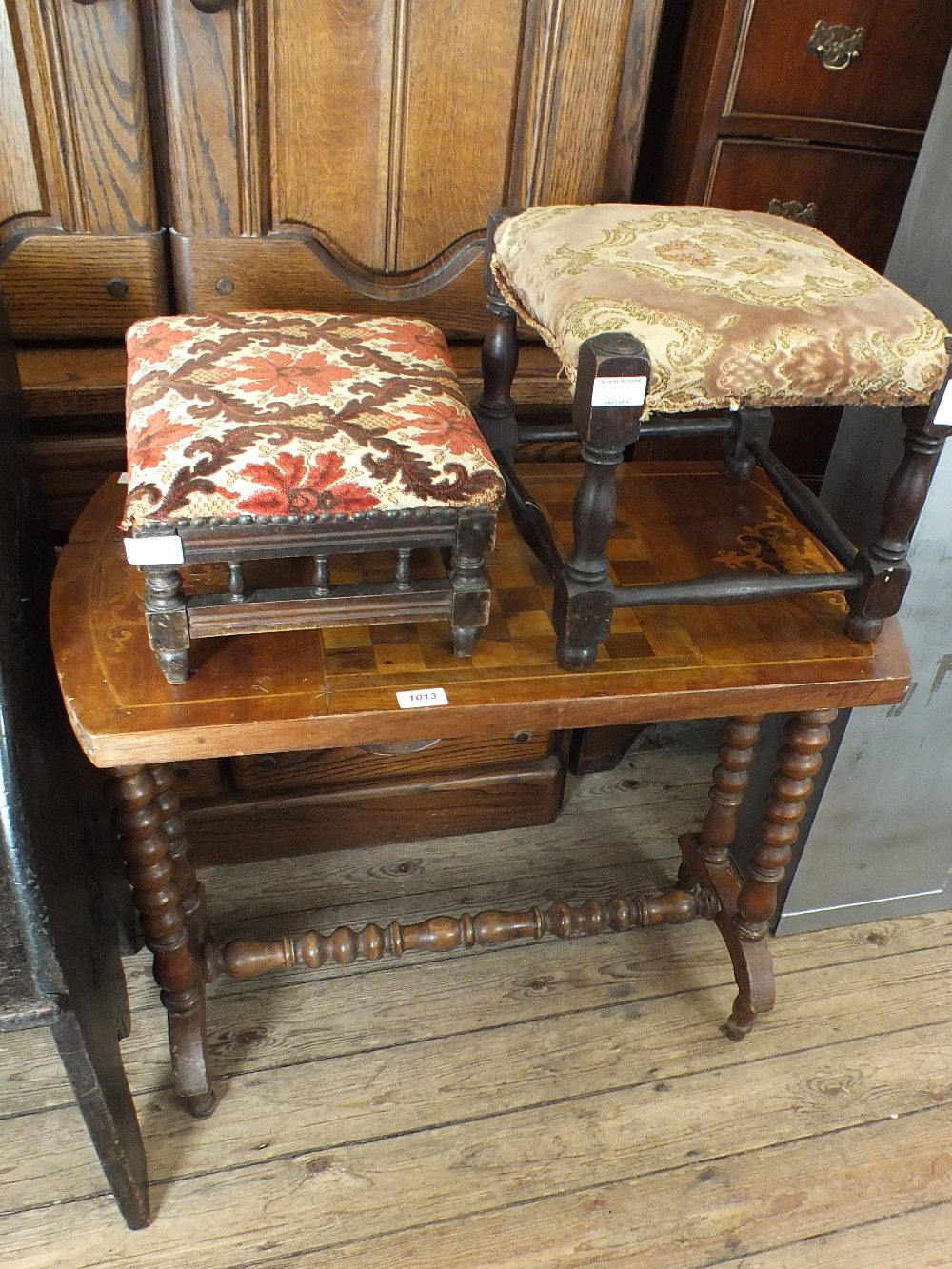 Lot 1013 - A Victorian mahogany and inlaid chess top table plus two stools