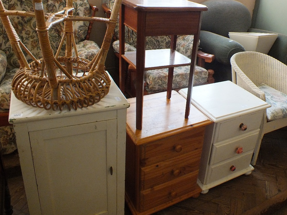 Lot 1025 - A painted pot cupboard, bedside chest x 2, cane stool,