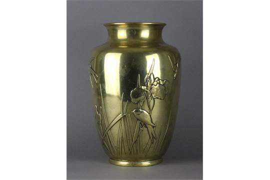 A Japanese Brass Vase Meiji Period Impressed Marks To Base 345cm