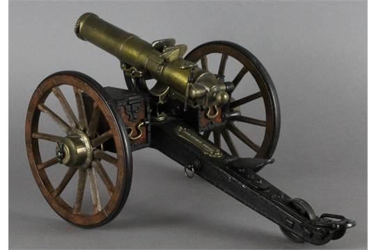 A model 1883 Gatling field gun, brass and iron, applied