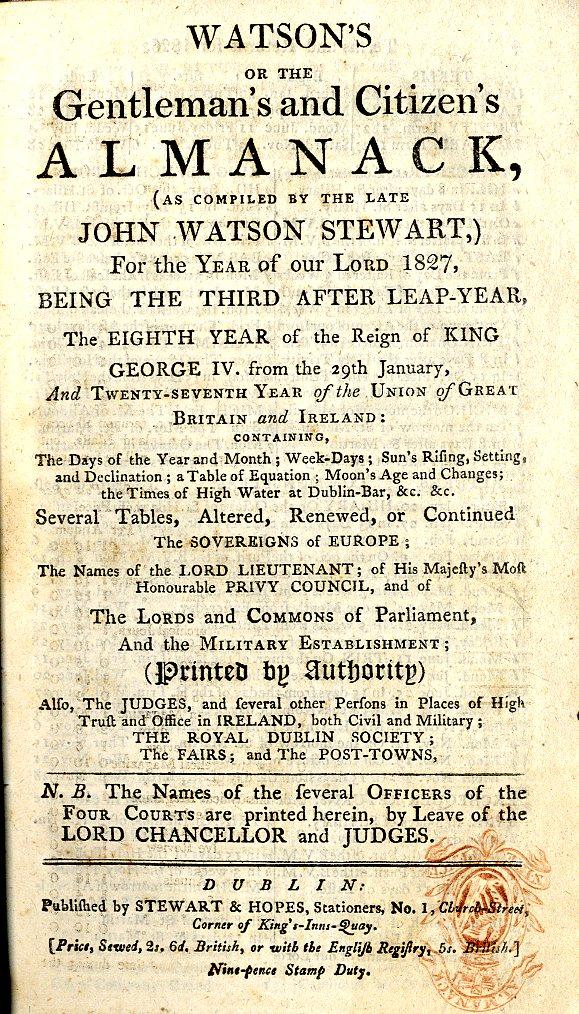 Lot 9 - Almanacs: Watson Stewart (J.) Treble Alm