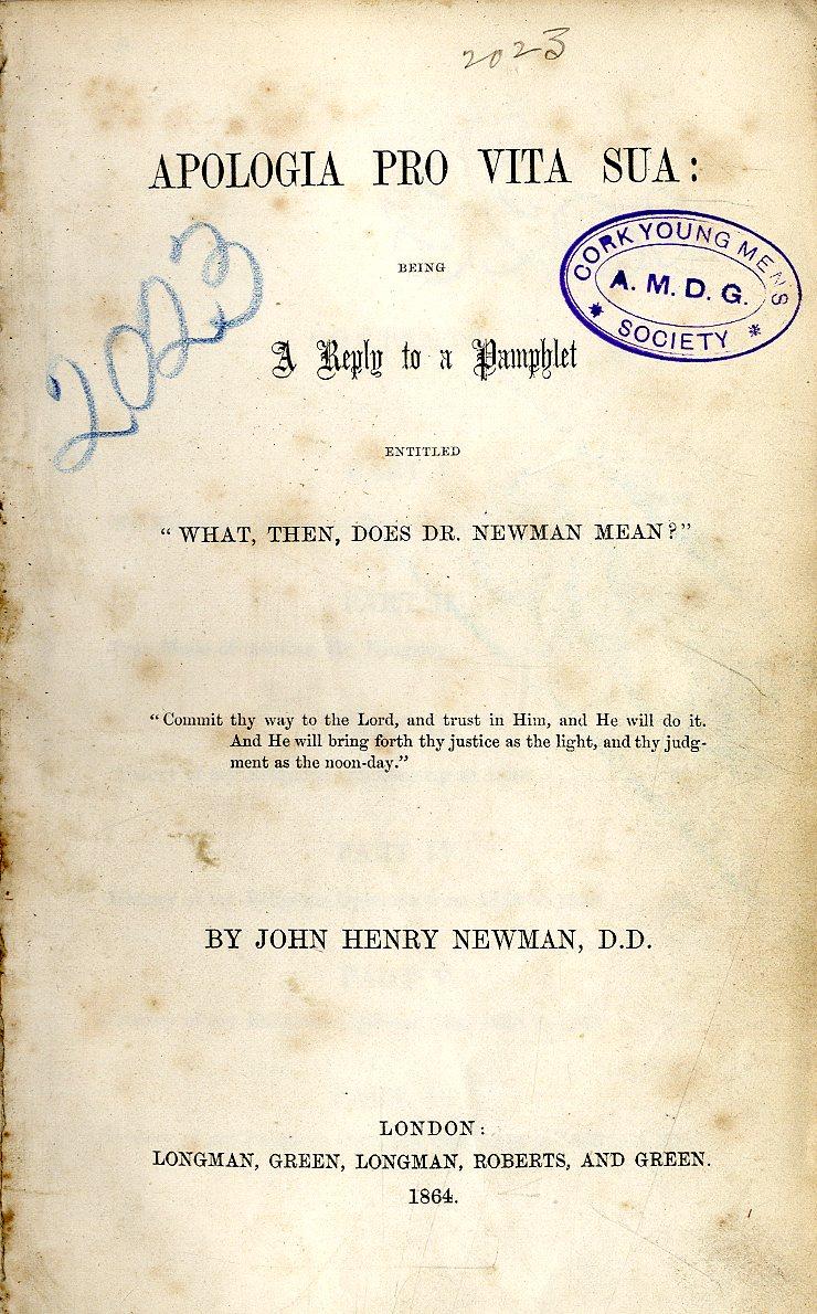Lot 34 - Newman (J. Henry Card.) Apologia Pro Vit