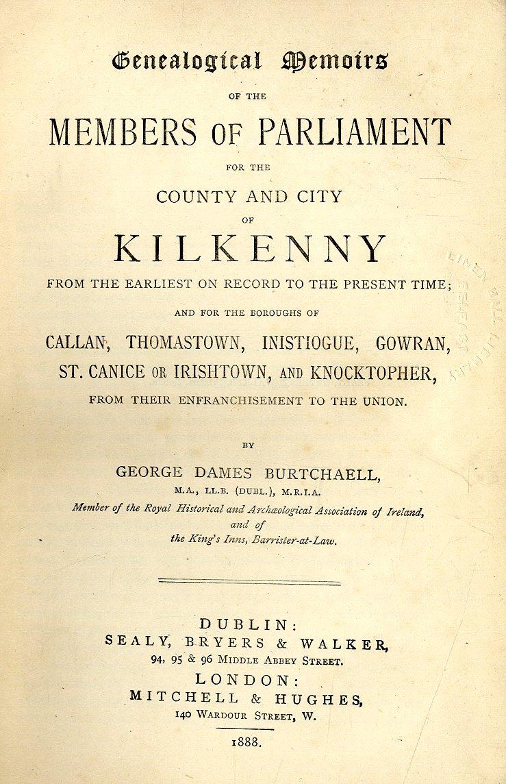 Lot 33 - Kilkenny interest: Burtchaell (Geo. Dame