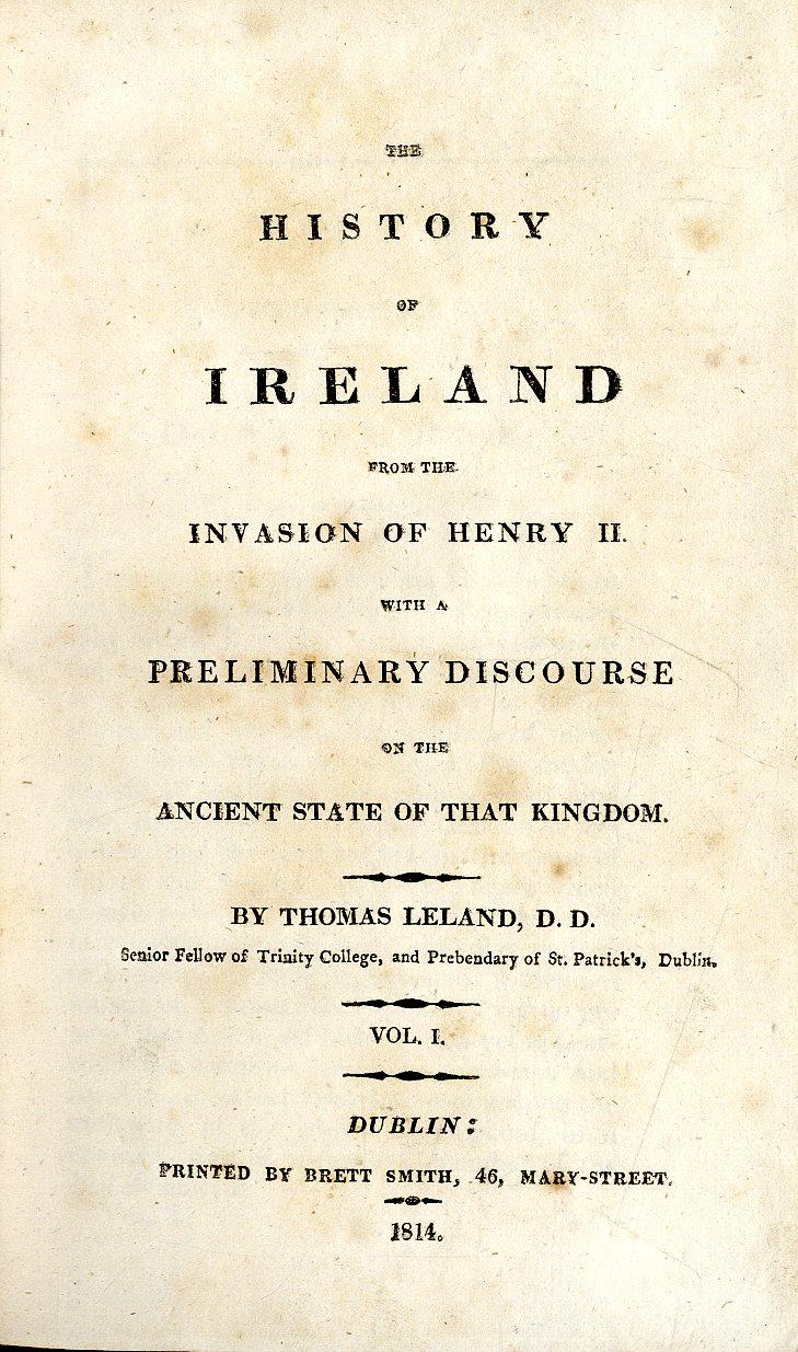 Lot 12 - Leland (Thos.) The History of Ireland, 3