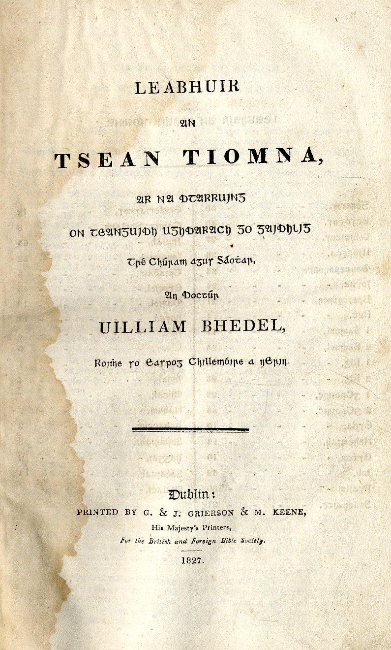 Lot 52 - Bhedal (Wm.) Leabhuir an tSean Tiomna, t