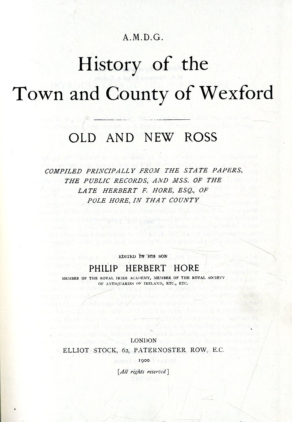 Lot 56 - Co. Wexford: Hore (Philip Herbert) Histo